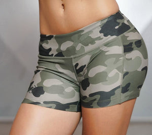 Women Sexy Sport Shorts Camo Shorts With Side Phone Pocket Fitness Cross Training Cardio Cycling - MBMCITY