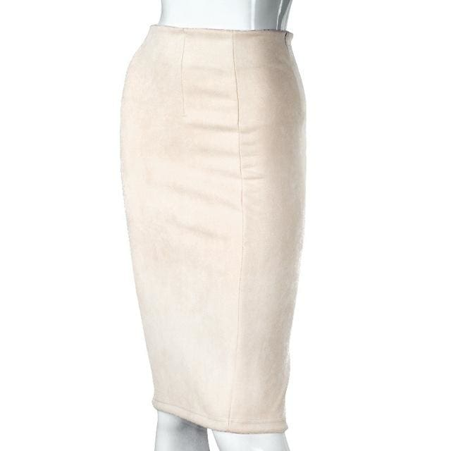Women Skirts Suede Solid Color Pencil Skirt Female Autumn Winter High Waist Bodycon Vintage Suede Beige / L