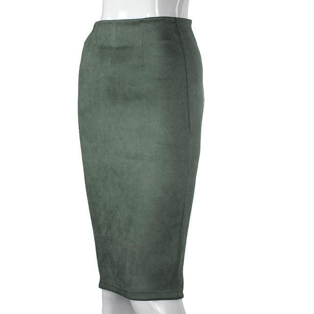 Women Skirts Suede Solid Color Pencil Skirt Female Autumn Winter High Waist Bodycon Vintage Suede Army Green / L