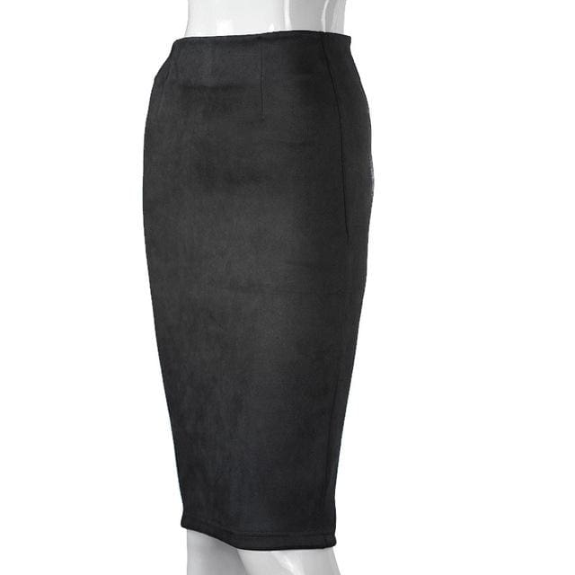 Women Skirts Suede Solid Color Pencil Skirt Female Autumn Winter High Waist Bodycon Vintage Suede Black / L