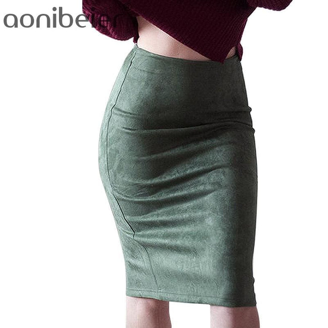 Women Skirts Suede Solid Color Pencil Skirt Female Autumn Winter High Waist Bodycon Vintage Suede - MBMCITY