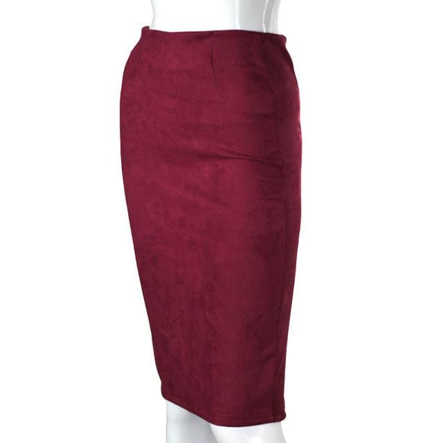 Women Skirts Suede Solid Color Pencil Skirt Female Autumn Winter High Waist Bodycon Vintage Suede Dark Red / L