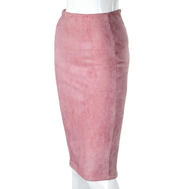 Women Skirts Suede Solid Color Pencil Skirt Female Autumn Winter High Waist Bodycon Vintage Suede Light Pink / L