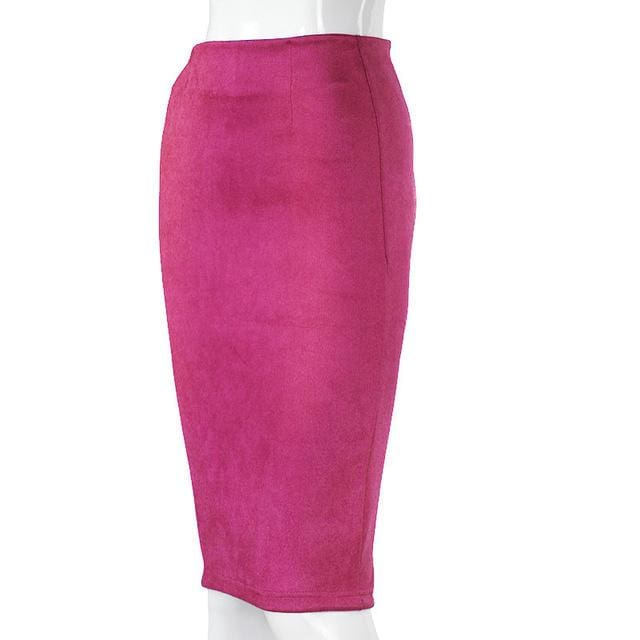 Women Skirts Suede Solid Color Pencil Skirt Female Autumn Winter High Waist Bodycon Vintage Suede Hot Pink / L