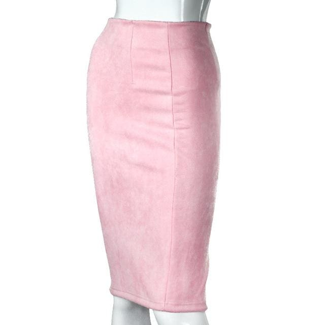 Women Skirts Suede Solid Color Pencil Skirt Female Autumn Winter High Waist Bodycon Vintage Suede Baby Pink / L