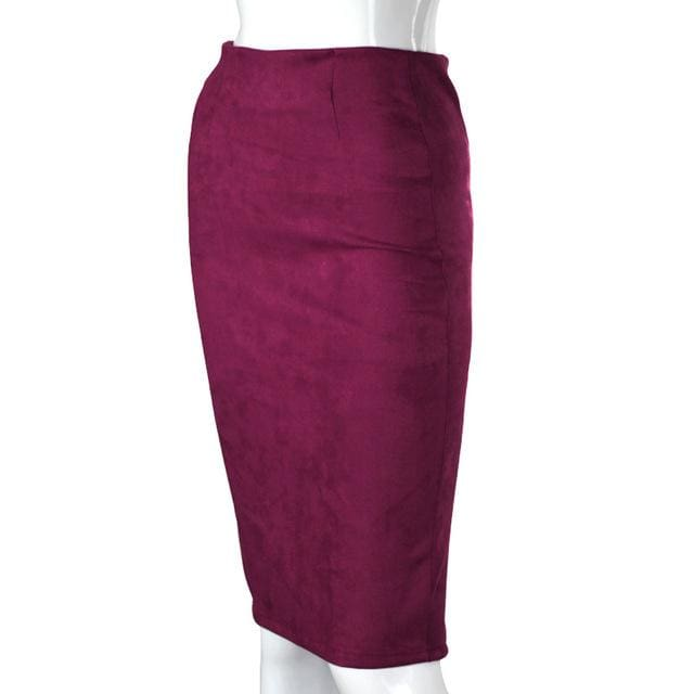 Women Skirts Suede Solid Color Pencil Skirt Female Autumn Winter High Waist Bodycon Vintage Suede Purple / L
