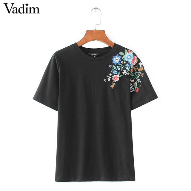 Women Sweet Flower Embroidery T Shirt Short Sleeve O-Neck Summer Fashion Tees Ladies Streetwear As Picture / L