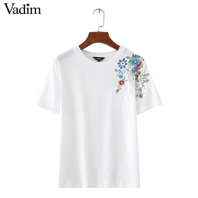 Women Sweet Flower Embroidery T Shirt Short Sleeve O-Neck Summer Fashion Tees Ladies Streetwear As Picture 1 / L
