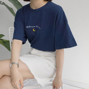 Women Tshirts 2018 New Cute Moon Embroidery Printed Short Sleeve T-Shirt Woman Summer All-Match
