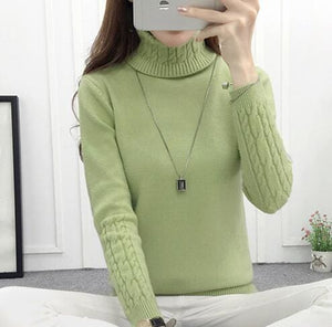 ae4bb1a6ca Women Turtleneck Sweaters 2018 Winter Thick Warm Sweaters And Pullovers  Knit Long Sleeve Cashmere Green