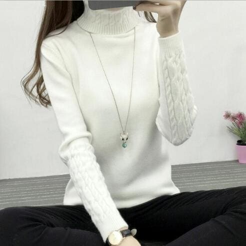 72d2366150 ... Women Turtleneck Sweaters 2018 Winter Thick Warm Sweaters And Pullovers  Knit Long Sleeve Cashmere White ...