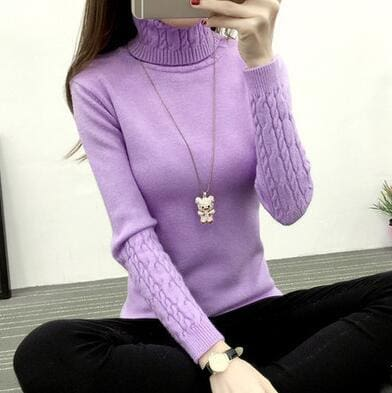 Women Turtleneck Winter Sweater Women 2018 Long Sleeve Knitted Women Sweaters And Pullovers Female - MBMCITY