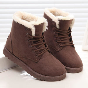 Women Winter Boots Fashion Warm Women Boots Plush Winter Shoes Women Ankle Boots Lace Up Flock Martin Boots Black Shoes Woman