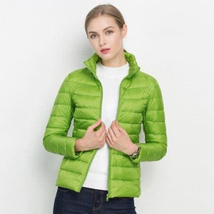 Women Winter Coat 2017 New Ultra Light White Duck Down Jacket Slim Women Winter Puffer Jacket Green / S