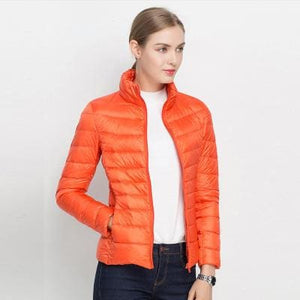 Women Winter Coat 2017 New Ultra Light White Duck Down Jacket Slim Women Winter Puffer Jacket Orange / S