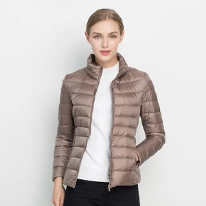 Women Winter Coat 2017 New Ultra Light White Duck Down Jacket Slim Women Winter Puffer Jacket Khaki / S