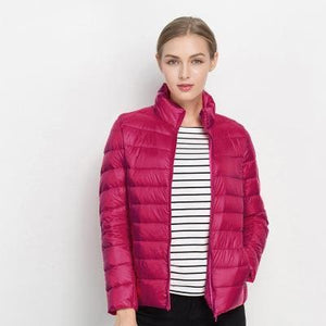 Women Winter Coat 2017 New Ultra Light White Duck Down Jacket Slim Women Winter Puffer Jacket Rose Red / S