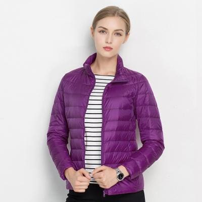 Women Winter Coat 2017 New Ultra Light White Duck Down Jacket Slim Women Winter Puffer Jacket Purple / S