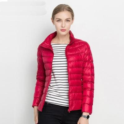 Women Winter Coat 2017 New Ultra Light White Duck Down Jacket Slim Women Winter Puffer Jacket Red / S
