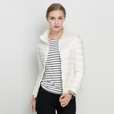 Women Winter Coat 2017 New Ultra Light White Duck Down Jacket Slim Women Winter Puffer Jacket White / S