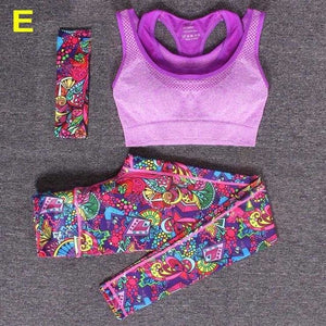 Women Yoga Fitness Sports Sets Gym Workout Sportswear 3pcs/Set Tracksuits Headband+Bra+Printed Yoga Yoga sets D / S