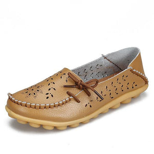 Womens Casual Genuine Leather Shoes Woman Loafers Slip-On Female Flats Moccasins Ladies Driving Khaki / 11