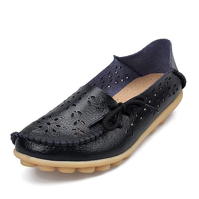 Womens Casual Genuine Leather Shoes Woman Loafers Slip-On Female Flats Moccasins Ladies Driving Black / 11