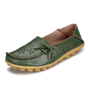 Womens Casual Genuine Leather Shoes Woman Loafers Slip-On Female Flats Moccasins Ladies Driving Army Green / 11