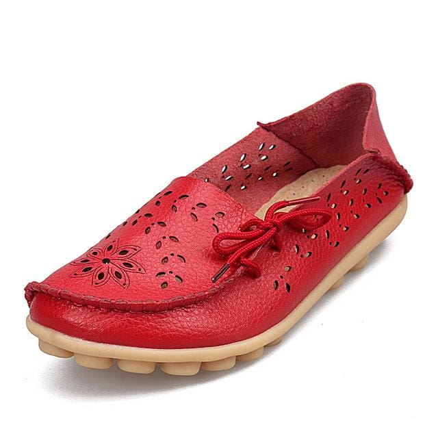 Womens Casual Genuine Leather Shoes Woman Loafers Slip-On Female Flats Moccasins Ladies Driving Red / 11