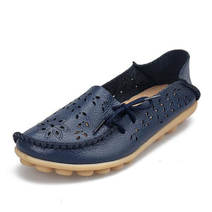 Womens Casual Genuine Leather Shoes Woman Loafers Slip-On Female Flats Moccasins Ladies Driving Dark Blue / 11