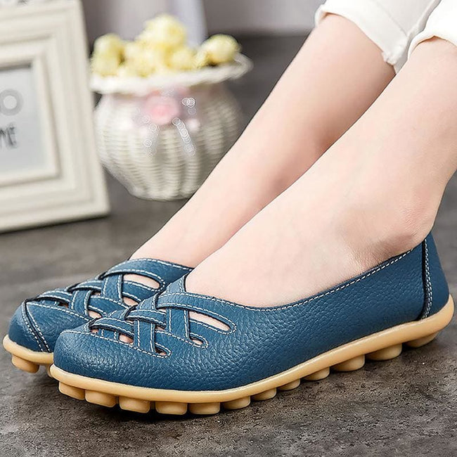 Women's shoes Pig Leather Flat with Superstar Big size 34-44 Oxford shoes women loafers 2017 Casual - MBMCITY