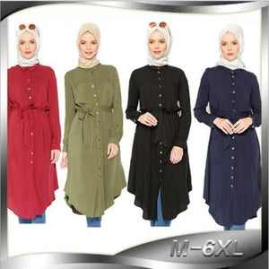 Womens Tops Shirt Dress Muslim Blouse Abaya Robe Loose Style Tunic Jubah Plus Size Ramadan Malaysia