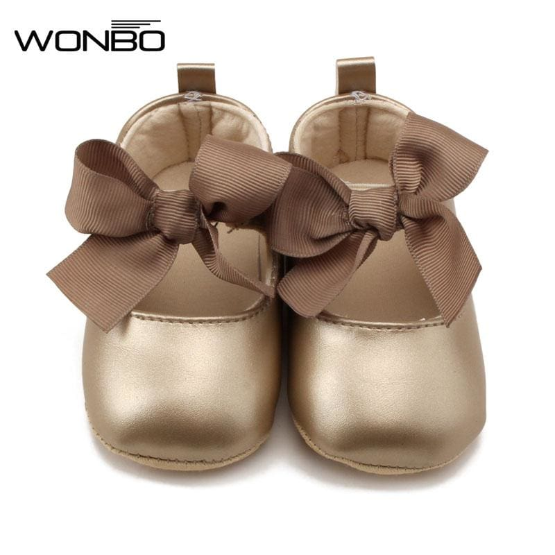 WONBO 0-18M Toddler Baby Girl Soft PU Princess Shoes Bow Bandage Infant Prewalker New Born Baby - MBMCITY