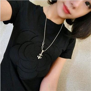 Wonderfulland women summer 3d camellia embroidery luxury T-shirt ladies fashion tops slim casual black / L