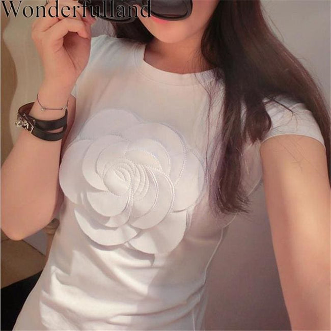 Wonderfulland women summer 3d camellia embroidery luxury  T-shirt ladies fashion tops slim casual - MBMCITY