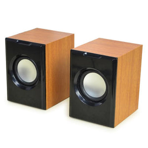 Wood Creative Mini Subwoofer Wired Stereo Small Computer/PC/Phone Double Speakers With USB 2.0 With