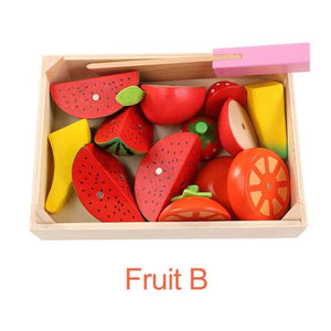Wooden Kitchen Toys Cutting Fruit Vegetable Play miniature Food Kids Wooden baby early education