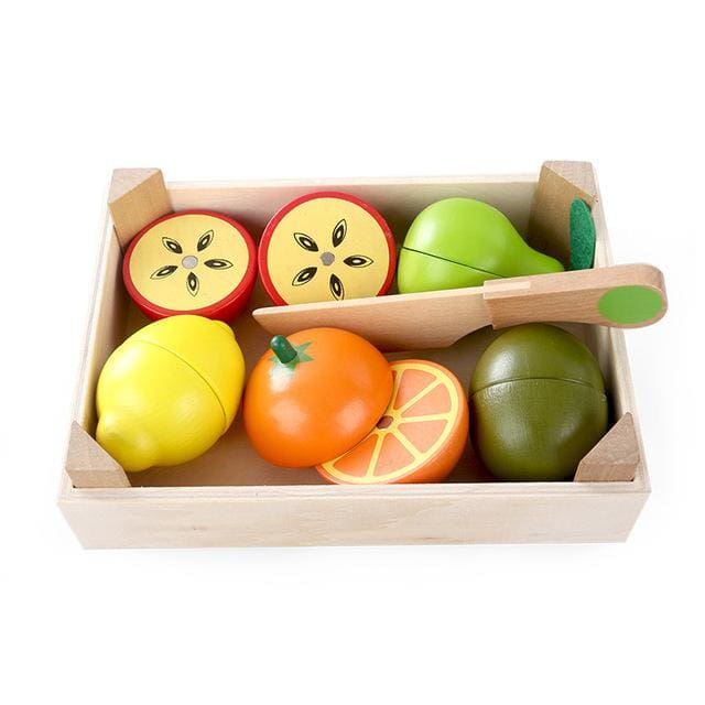Wooden Kitchen Toys Cutting Fruit Vegetable Play miniature ...