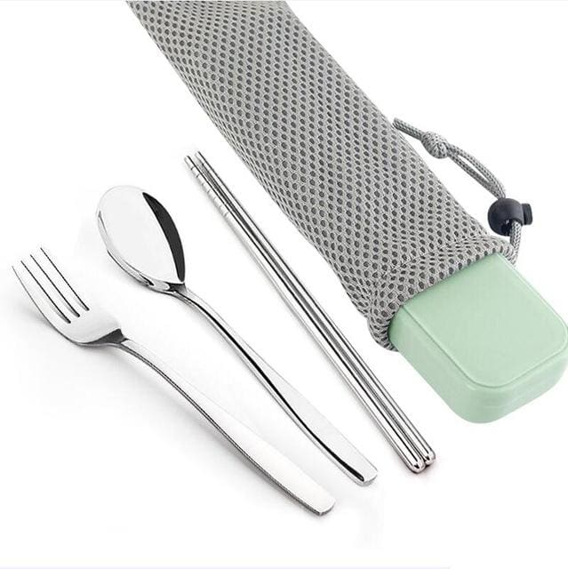 WORTHBUY 4 Pcs/Set Portable Stainless Steel Dinnerware Set With Box Portable For Kids School Picnic - MBMCITY