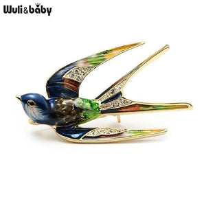 Wuli&Baby Classic Alloy Enamel Swallow Brooch Pins Metal Scarf Pins Christmas Gift Banquet Weddings multicolor