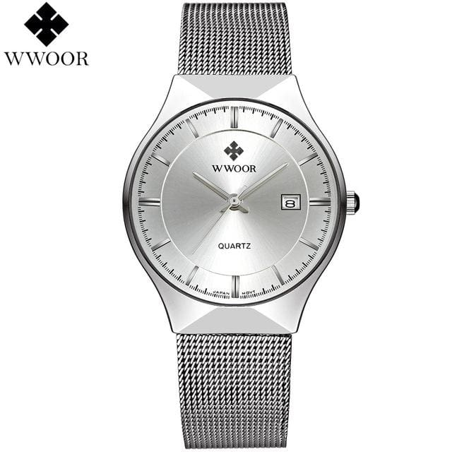 WWOOR New Top Luxury Watch Men Brand Mens Watches Ultra Thin Stainless Steel Mesh Band Quartz White