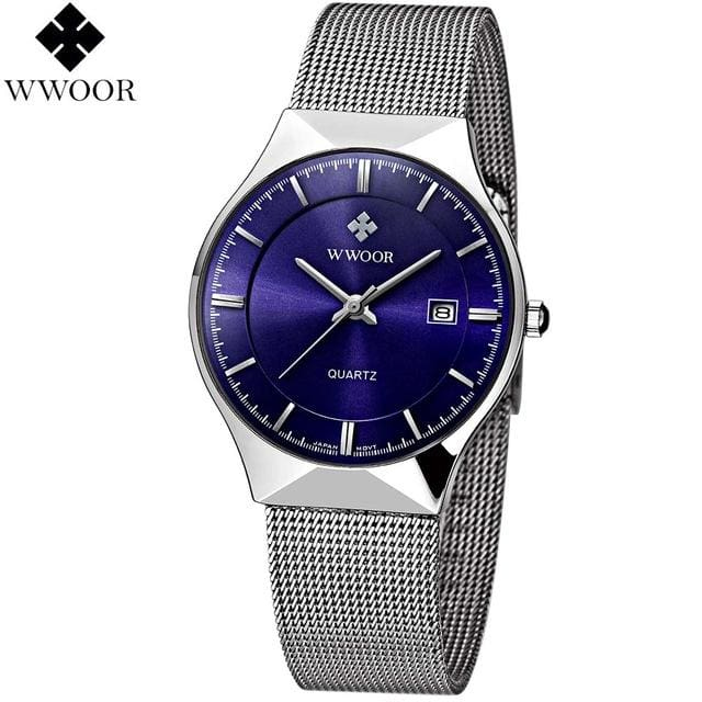 WWOOR New Top Luxury Watch Men Brand Mens Watches Ultra Thin Stainless Steel Mesh Band Quartz Blue