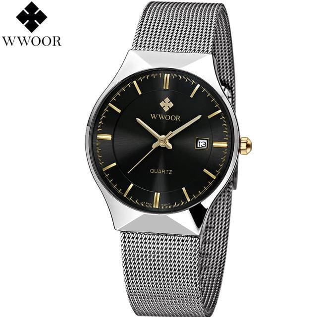 WWOOR New Top Luxury Watch Men Brand Mens Watches Ultra Thin Stainless Steel Mesh Band Quartz Black