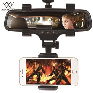 XMXCZKJ Car Phone Holder Car Rearview Mirror Mount Phone Holder 360 Degrees For iPhone Samsung GPS.
