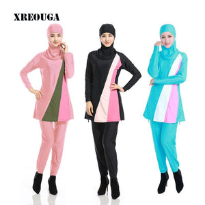 XREOUGA Islamic Swimwear Women Modest Full Cover Arab Beach Wear Hijab Swimsuit Swimwear Bikinis for.
