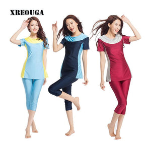 XREOUGA New Women Swimwear Modesty Lady Islamic Beachwear Muslim Swimsuit Size XS-3XL MS13.