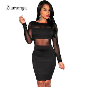 XS-XXL Sexy Bandage Dress New Winter Black White Dress Long Sleeve Mesh Patchwork Hollow Out Pencil - MBMCITY