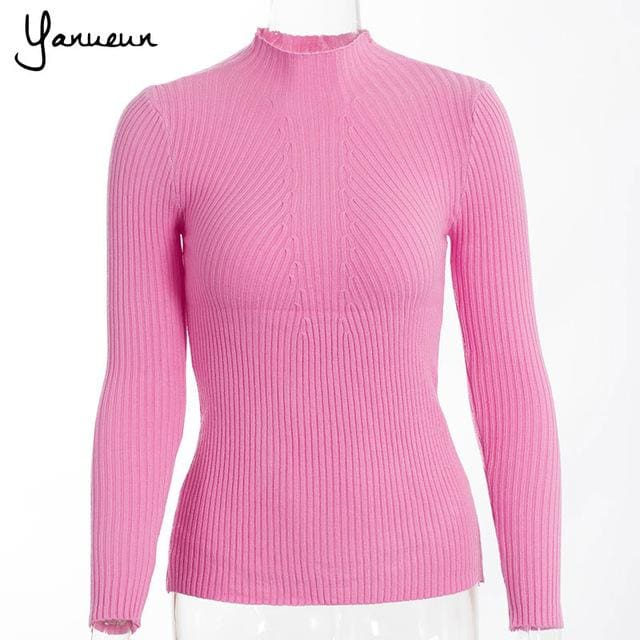 Yanueun Korean Fashion Women Pullovers Turtleneck Knit Shirt Long Sleeve Stretched Solid Sweater Zhong Fen / One Size