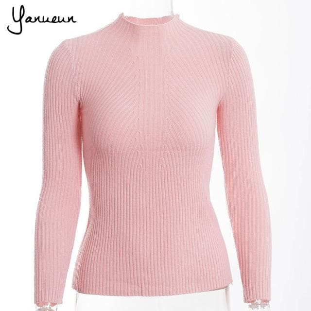 Yanueun Korean Fashion Women Pullovers Turtleneck Knit Shirt Long Sleeve Stretched Solid Sweater Pi Pink / One Size