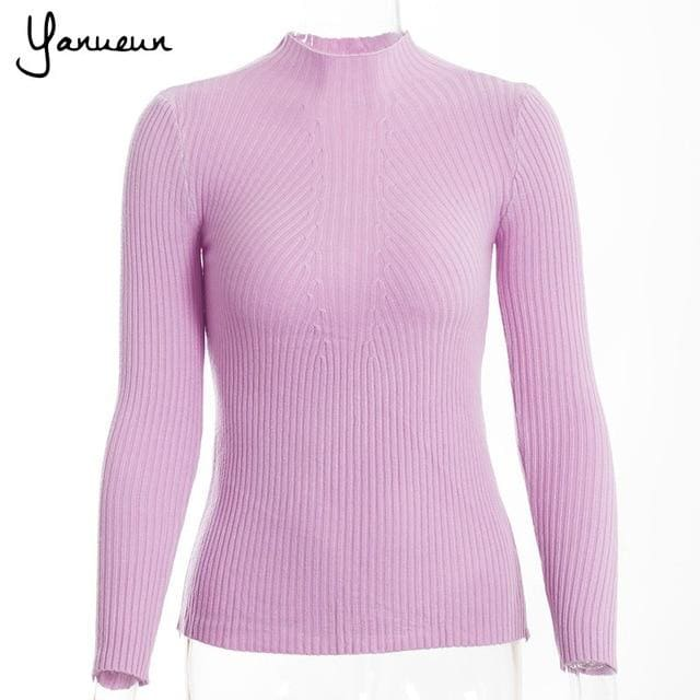 Yanueun Korean Fashion Women Pullovers Turtleneck Knit Shirt Long Sleeve Stretched Solid Sweater Light Purple / One Size
